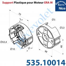 535.10014 Support Plastique Nice Era Tête M Percé de 4 Trous diamètre 5,2 mm entr'axes 48 mm pour Vis à Tête Ronde