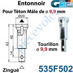 535F502 Entonnoir à Tourillon ø 9,9 mm pour Têton mâle ø 9,9 mm