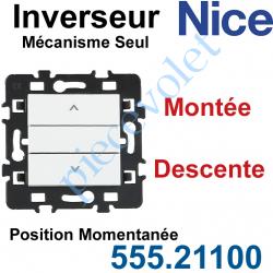 555.21100 Inverseur Nice Montée-Descente Mécanisme Seul à Encastrer à Position Momentanée Blanc