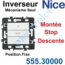 555.30000 Inverseur Nice Montée-Stop-Descente Mécanisme Seul à Encastrer à Position Fixe Blanc