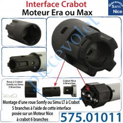 575.01011 Interface Crabot Moteur Nice Era ou Max vers Crabot Moteur Somfy LT permet d'utiliser les Roues de la Gamme Somfy LT