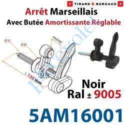 5AM16001 Arrêt Marseillais Tirefond à Visser Lg 130 Matériau Composite Noir ± Ral 9005 Avec Butée Réglable de 5 à 40 mm