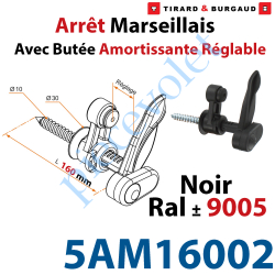 5AM16002 Arrêt Marseillais Tirefond à Visser Lg 160 Matériau Composite Noir ± Ral 9005 Avec Butée Réglable de 5 à 60 mm