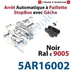 5AR16002 Arrêt à Paillette Automatique StopBox Inoxydable pour Volet d'Epaisseur 22 à 38mm Noir ± Ral 9005 Avec Gâche inox Lg 56