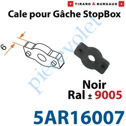 5AR16007 Cale en Matériau Composite épaisseur 6mm Noir ± Ral 9005 pour Gâche de l'Arrêt Automatique StopBox