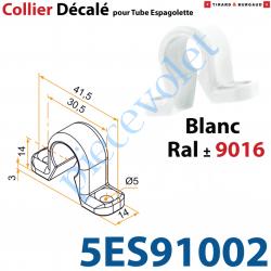 5ES91002 Collier Décalé en forme d'Oméga à Visser en Matériau Composite Blanc ± Ral 9016 pour Tube d'Espagnolette Diamètre 14mm