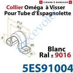 5ES91004 Collier Oméga à Visser en Matériau Composite Blanc ±Ral 9016 pour Tube d'Espagnolette Diam 14mm Rainuré en Aluminium (S