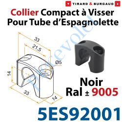 5ES92001 Collier Compact à Visser en Matériau Composite Noir ±Ral 9005 pour Tube Espagnolette Diam 14mm Rainuré en Aluminium (Sa