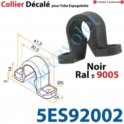 5ES92002 Collier Décalé en forme d'Oméga à Visser en Matériau Composite Noir ± Ral 9005 pour Tube d'Espagnolette Diamètre 14mm R