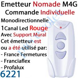 6221 Emetteur Nomade Avec Support Mural M4G Monodirectionnel 1 Canal  de Commande Individuelle ou Générale Led Rouge