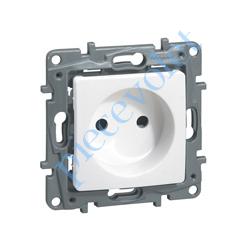 664735 Prise Electrique Femelle 2 P + T 16 A 250v Série Niloé en Plastique Blanc