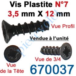 670037 Vis Plastite N°7 Tête Fraisée 3,5 x 12 mm pour Fixation Directe sur Tête de Moteur Ls 40
