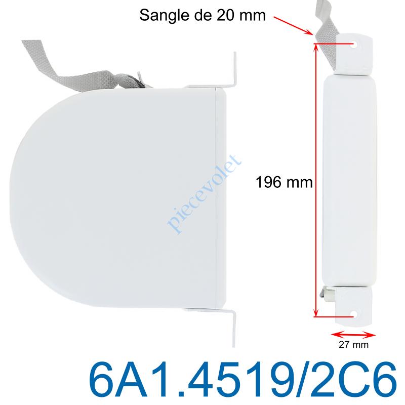 6A1.4519/2C6 Enrouleur Pivotant de Sangle Blanc Largeur 20 mm Longueur 6m