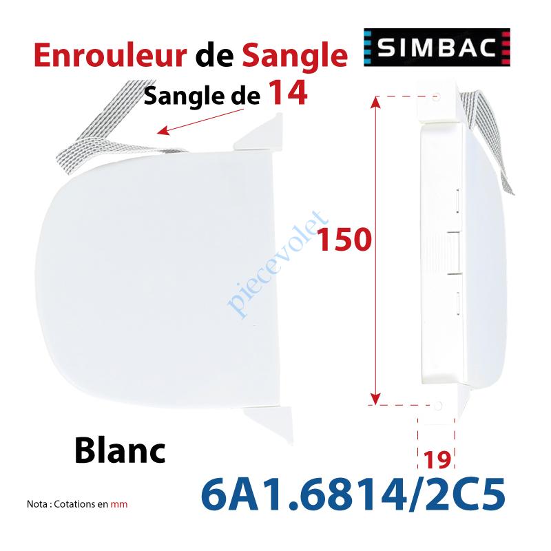 6A1.6814/2C5 Enrouleur Pivotant de Sangle Swing Blanc Largeur 14 mm Longueur 5 m
