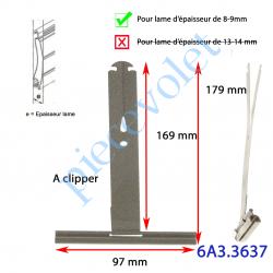 6A3.3637 Attache Tablier à Cliper sur Tube avec fentes de 10x2,5 mm Ergot 16 mm Laqué Gris pour Lames de 8-9 mm Long 170 mm