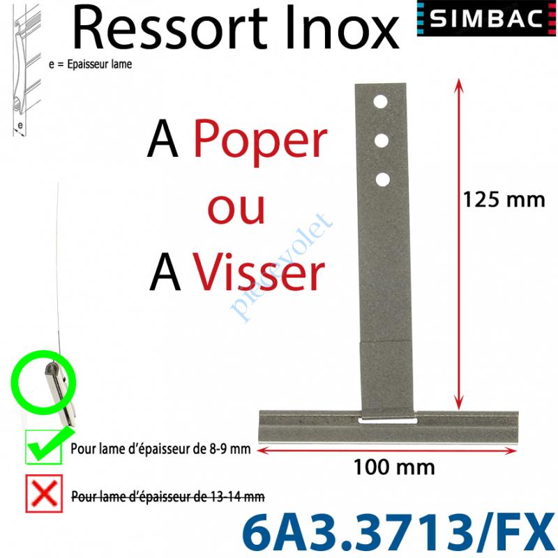 6A3.3713/FX Ressort Inox à Poper sur Tube Laqué Gris pour Lames de 9 mm Longueur 130 mm