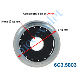 6C3.5803 Roulement à Billes Acier Noyau Nylon ø Int 12 mm - ø Ext 42 mm Epaisseur 17 mm