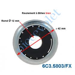 6C3.5803/FX Roulement à Billes Inox Noyau Nylon ø Int 12 mm - ø Ext 42 mm Epaisseur 17 mm