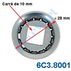 6C3.8001 Roulement à Billes Acier Noyau Acier Carré de10 mm - ø Ext 28 mm Déport 2 mm