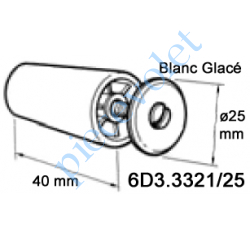 6D3.3321/25 Butée Cônique ø 25 mm Longueur 40 mm Coloris Blanc Glacé Avec Vis Acier Zingué