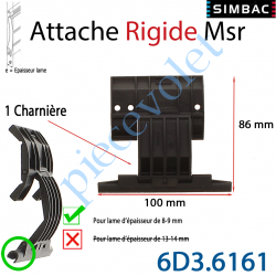6D3.6161 Attache Rigide Msr d'1 Charnière pour Lame 8-9 mm d'épaisseur