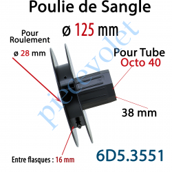 6D5.3551 Poulie de Sangle ø 125 Emb Octo 40 Lg 38 Entre Flasque 16 pr Roulement ø 28 mm