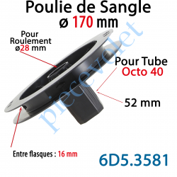 6D5.3581 Poulie de Sangle ø 170 Emb Octo 40 Lg 52 Entre Flasque 16 pr Roulement ø 28 mm