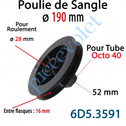 6D5.3591 Poulie de Sangle ø 190 Emb Octo 40 Lg 52 Entre Flasque 16 pr Roulement ø 28 mm