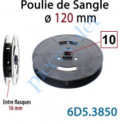 6D5.3850 Poulie de Sangle ø 120 mm  Entre Flasques 16 mm Entraînement en Carré de 10 mm