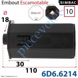 6D6.6214 Embout Escamotable de 30 mm Octo 60 Téton ø18 Mâle Alésé en Carré de 10 Femelle