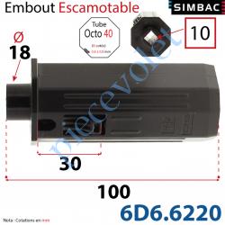 6D6.6220 Embout Escamotable de 30 mm Octo 40 Téton ø18 Mâle Alésé en Carré de 10 Femelle