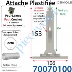 70070100 Attache Tablier Plastifiée à Cliper sur Tube avec fentes de 10x2,5mm Ergot 16mm pour Lames de 8-9mm Long 142mm Coloris