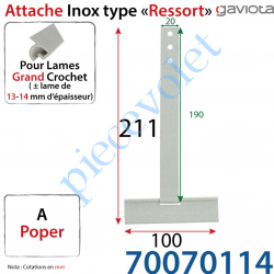 70070114 Ressort Inox à Poper sur Tube Laqué Gris pour Lames de 13-14 mm Longueur Totale 211 mm
