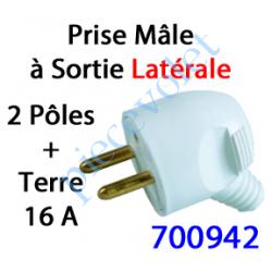 700942 Prise Electrique Mâle 2 P + T 16 A IP 40 en Plastique Blanc à Sortie Latérale
