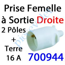 700944 Prise Electrique Femelle 2 P + T 16 A IP 40? en Plastique Blanc à Sortie Droite