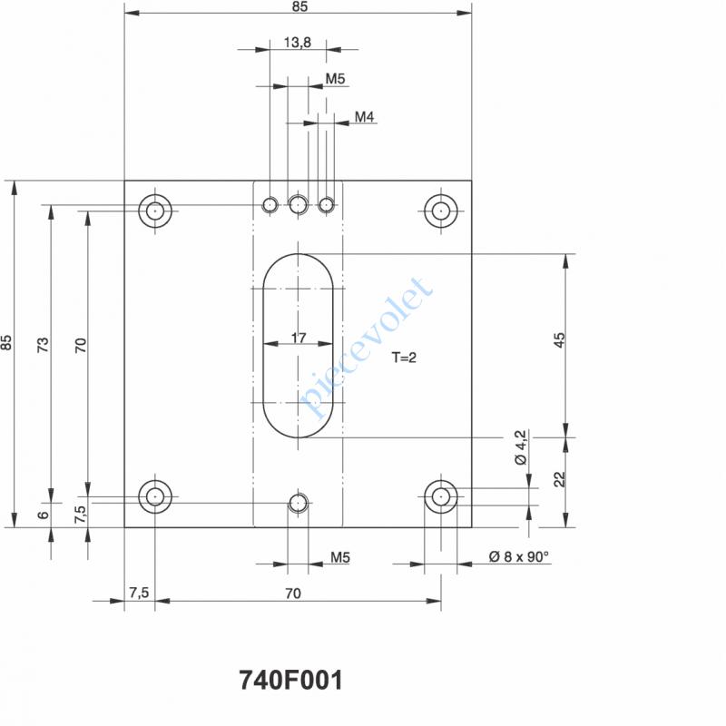 740F001 Plaque de 85x85 pour Elargir l'appui de Sortie de Coffre