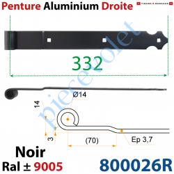 800026R Penture Aluminium Droite Festonée Longueur: 332mm Noeud ø14mm Déport 3mm Percée de 3 Trous Laquée Noire