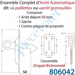 806042 Arrêt Automatique à Paillette ou Arrêt Grenouille Déport 50 mm Avec Gâche et Contre-plaque l'ensemble Zingué Bichromaté