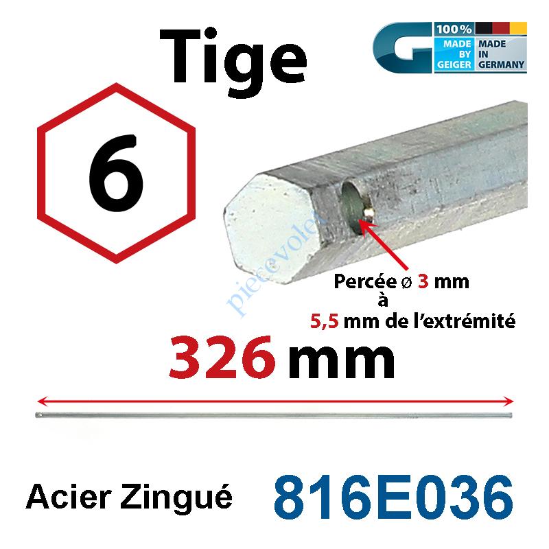 816E036 Tige Hexa 6 mm Lg 326 mm