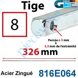 816E064 Tige Carré 8 mm Lg 326 mm