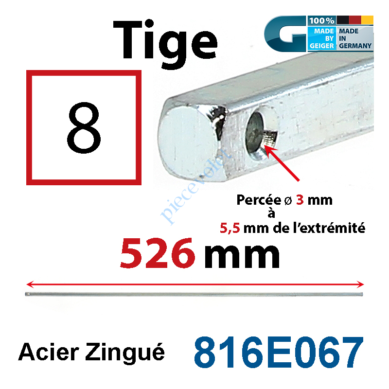 816E067 Tige Carré 8 mm Lg 526 mm