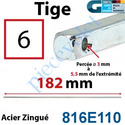816E110 Tige Carré 6 mm Lg 182 mm