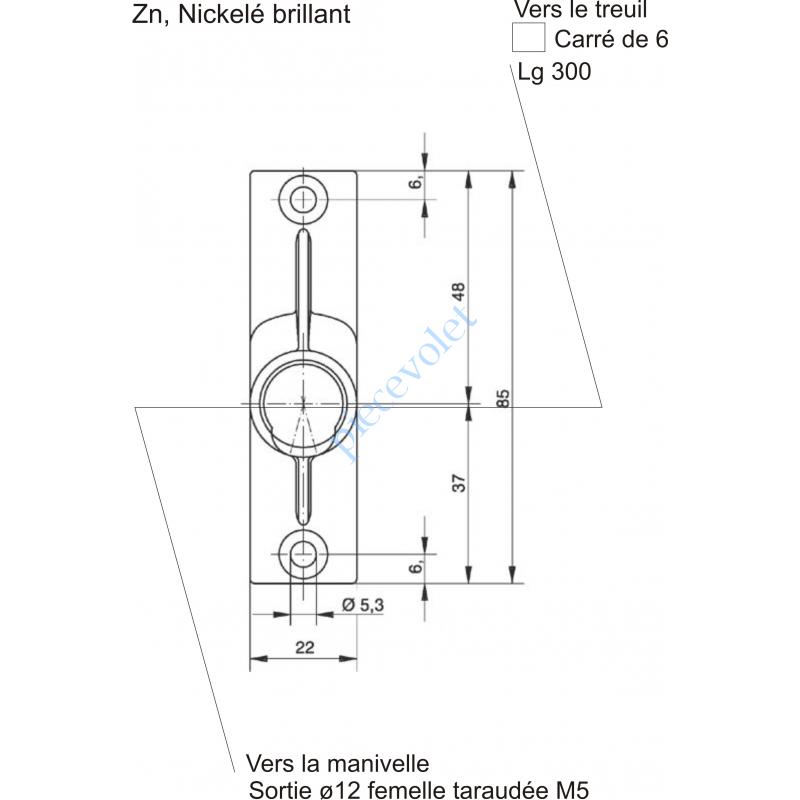 816F01BM02 Sortie à 45° Zamac Nickelé Embase 22x85mm 2 Trous Entrée ø12 Femelle Avec Vis - Sortie Carré 6 Mâle lg 300mm