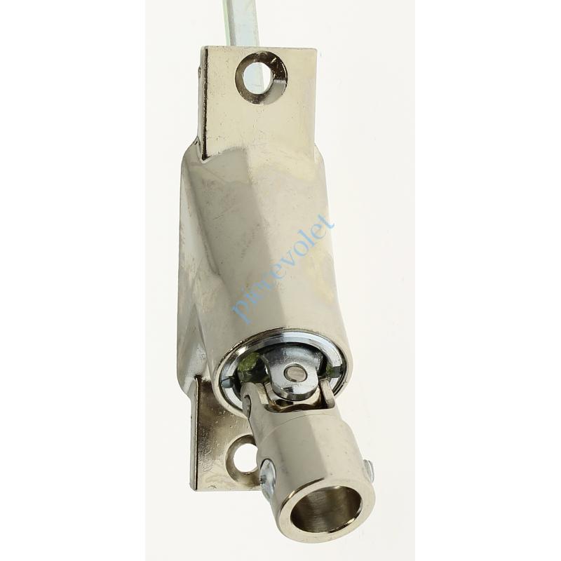 816F16BM02 Sortie à 90° Zamac Nickelé Embase 22x85mm 2 Trous Entrée ø12 Femelle Avec Vis - Sortie Carré 6 Mâle lg 300mm