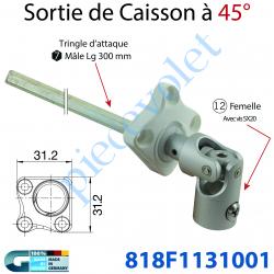 818F1131001 Sortie Bloc-Guide Blanc 45° Angulaire Platine 31,2 x 31,2 ø 12 Fem Av Vis - Hexa 7 Mâle lg 300 mm