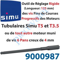 9000987 Outil de Réglage Rigide des Vis de Fins de Courses Progressifs Forme Hexagonale 4mm Longueur 125mm