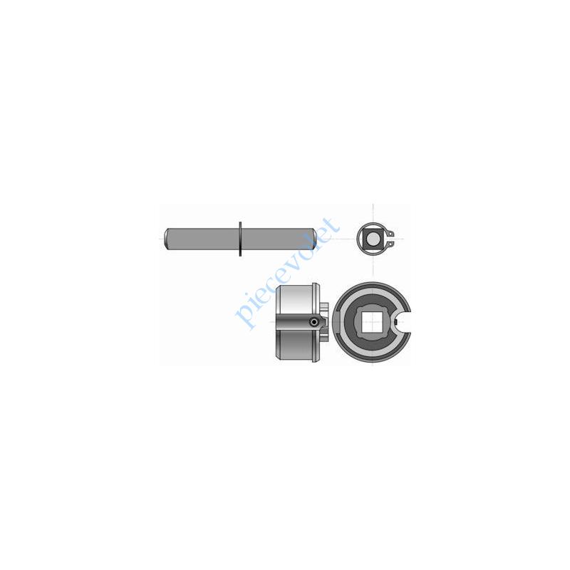 9001251 Embout Réglable pour Tube Rond ø 50 mm 15/10 Avec Carré de 13 mm Mâle