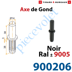 900206 Axe de Gond en Polyamide Avec Insert en Acier pour Gond en Aluminium ø 14 mm Coloris Noir ± Ral 9005
