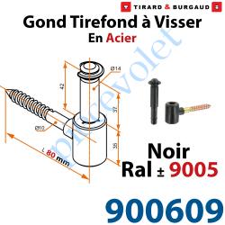 900609 Gond Tirefond à Visser Longueur 80 mm Axe ø 14 mm en Acier et Matériau Composite Noir ± Ral 9005