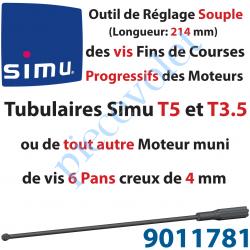 9011781 Outil de Réglage Souple des Vis de Fins de Courses Progressifs Forme Hexagonale 4mm Longueur 214mm